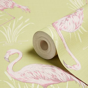 Lagoon Flamingoes Green & Pink Vinyl Wallpaper