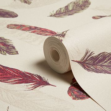 Plume Raspberry & Green Feathers Wallpaper