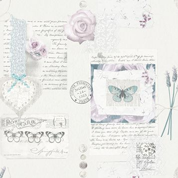 Lavender Days Cream & Pink Romantic Collage Mica Wallpaper