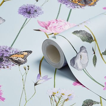 Everly Flowers & Butterflies Glitter Effect Wallpaper