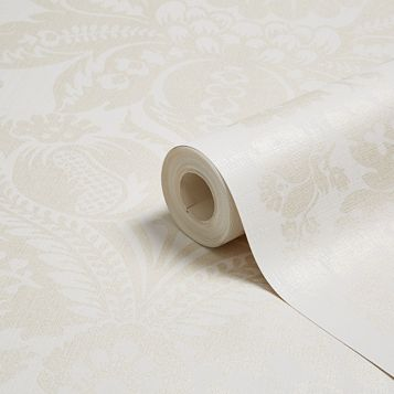 Napoli Cream Grand Damask Glitter Effect Wallpaper