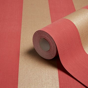 Napoli Red & Gold Stripe Glitter Effect Wallpaper