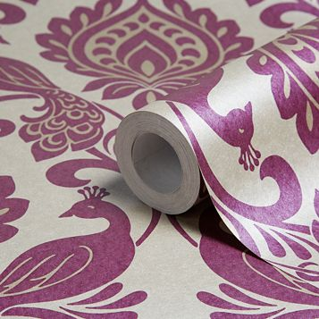 Borromeo Damson Peacock Damask Glitter Effect Wallpaper