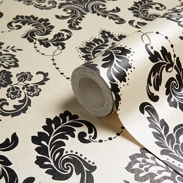 Boutique Dalmation Damask Glitter Effect Wallpaper