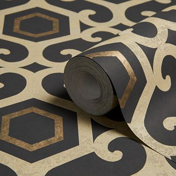 Boutique Amber Black Geometric Metallic Wallpaper