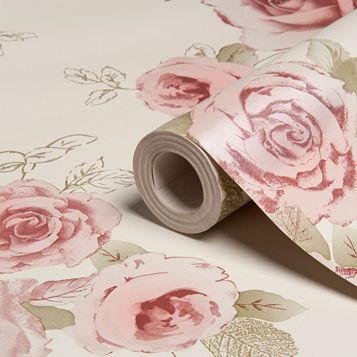Nicky Cream, Green & Rose Floral Wallpaper