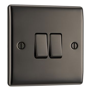 British General 2-Gang 2-Way 10AX Black Nickel Switch