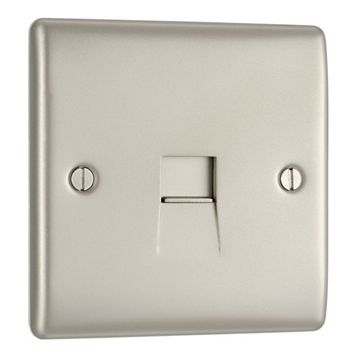 1 Gang Raised Slim Nickel Effect Telephone Slave Socket