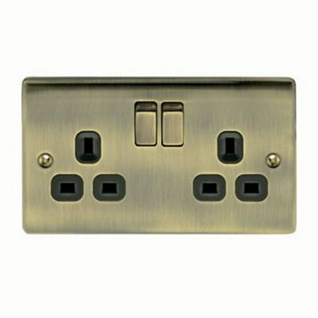 13A 2-Gang Antique Brass Brushed Switched Socket