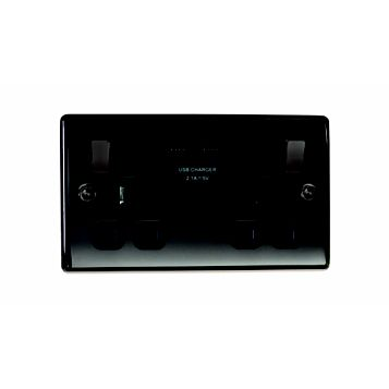 13A 2-Gang Polished Black Nickel Effect Switched Socket with USB
