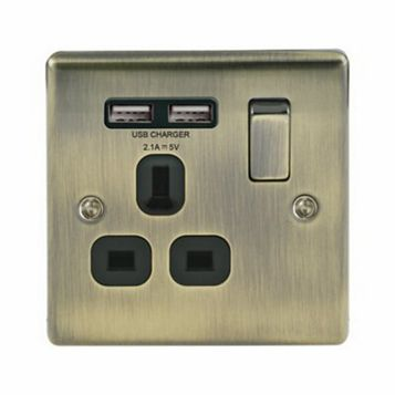 13A 1-Gang Antique Brass Brushed Switched Socket with USB
