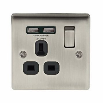 British General 13A 1-Gang Brushed Iridium Effect Switched Socket