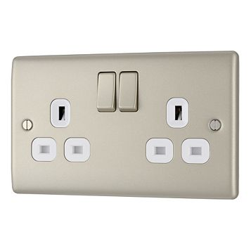 British General 13A 2-Gang Pearl Polished Nickel Effect Switched Socket