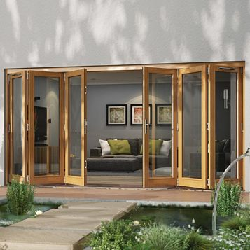 Timber Glazed Sliding Folding Patio Door, (H)2094mm (W)4194mm