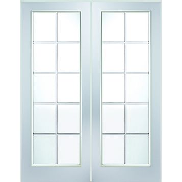 10 Lite Clear Glazed Primed Internal French Door Set, (H)2030mm (W)1246mm