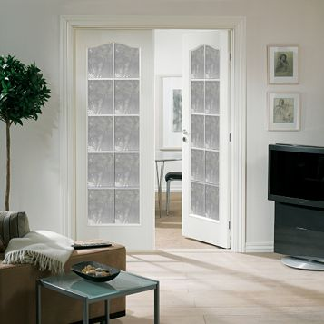 10 Lite Obscure Glazed Arched Primed Internal French Door Set, (H)2030mm (W)1246mm