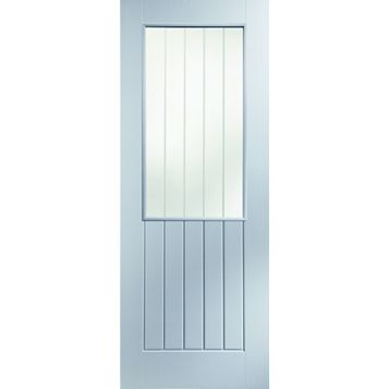 Cottage Panelled Primed Glazed Internal Door, (H)1981mm (W)762mm