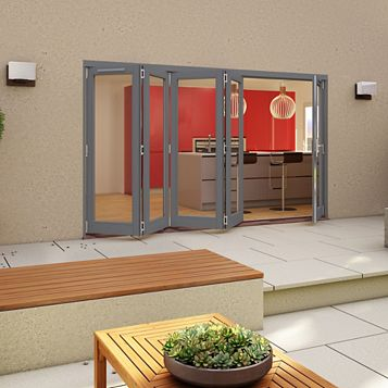 Grey Timber Glazed Sliding Folding Patio Door, (H)2094mm (W)2994mm