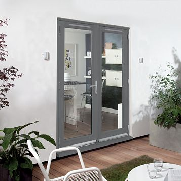 Clear Glazed Grey Fully Finished Timber External French Door Set, (H)2094mm (W)1194mm
