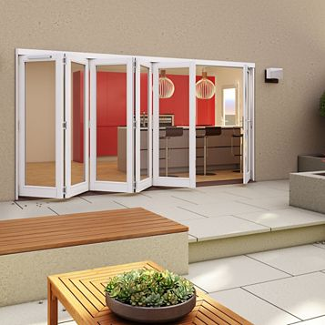 White Timber Glazed Sliding Folding Patio Door, (H)2094mm (W)4794mm