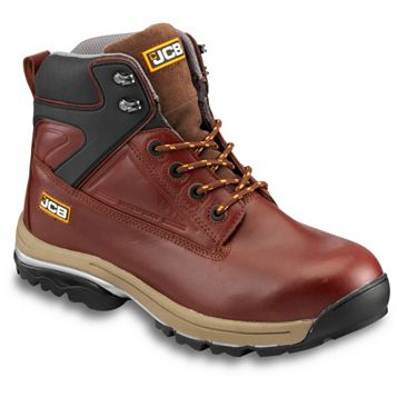 JCB Brown Full Grain Leather Steel Toe Cap Fast Track Boots, Size 8