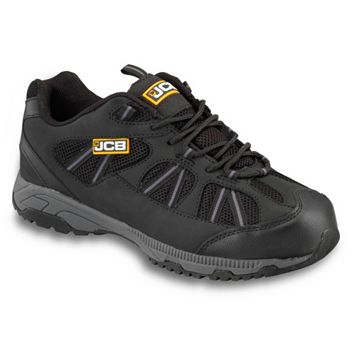 JCB Black & Grey Leather & Mesh Steel Toe Cap Compact Trainers, Size 9