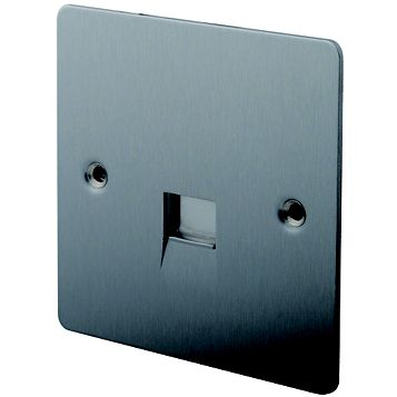 Lap 1 G Gang Flat Plate Brushed Stainless Steel Telephone & Coaxial Socket