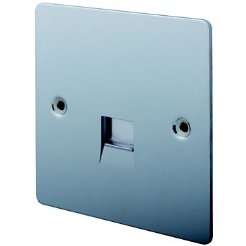 Lap 1 G Gang Flat Plate Polished Chrome Telephone & Coaxial Socket