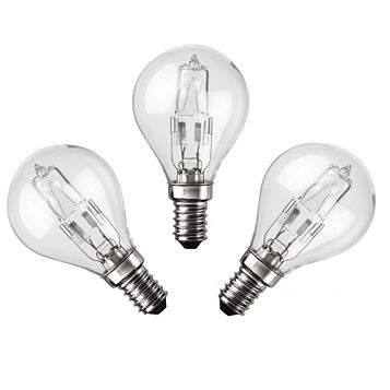 Diall Small Edison Screw Cap (E14) 28W Halogen Eco Round Light Bulb, Pack of 3