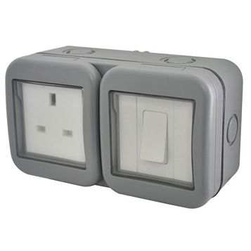 Diall 13A 1-Gang External Socket & 2 Way Single Switch