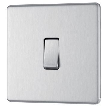 Colours 10AX 2-Way Single Stainless Steel Single Light Switch