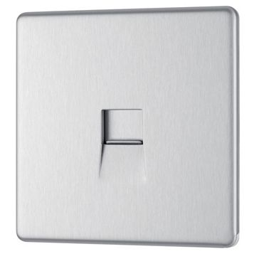 Colours 1 Gang Screwless Flat Plate Brushed Steel Telephone Socket