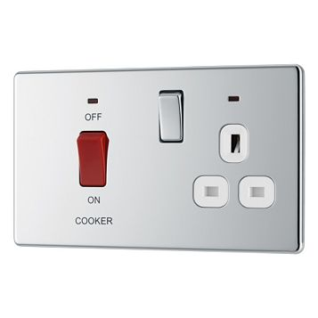 Colours 2-Gang 45A Cooker Switch & Socket