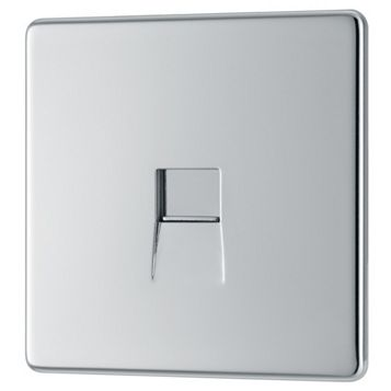 Colours Excellence 1-Gang Flat Plate Polished Chrome Telephone Socket