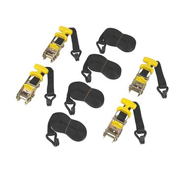 Ratchet Tie-Down Straps with J-Hook 4.8m x 31mm x 1mm, Pack of 4