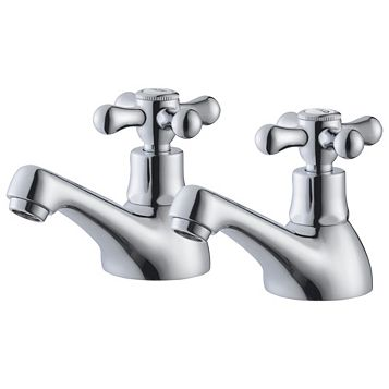 Plumbsure Azure Chrome Hot & Cold Bath Pillar Tap, Pack of 2