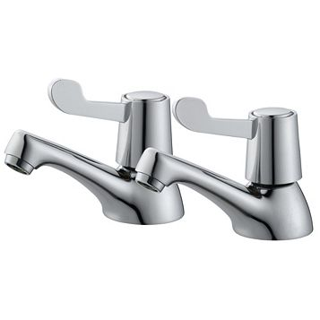 Plumbsure Amber Chrome Hot & Cold Bath Pillar Tap, Pack of 2