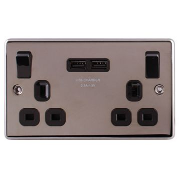 Lap 13A 2-Gang Black Nickel Effect Switched Double Switched Socket with USB Port