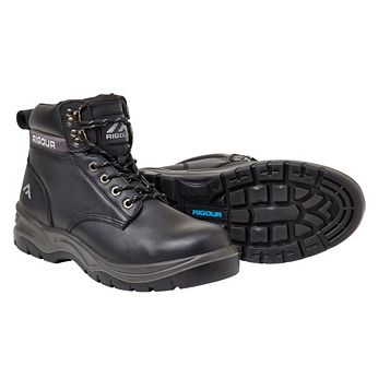Rigour Black Full Grain Leather Steel Toe Cap Safety Work Boots, Size 8