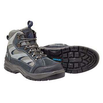 Rigour Grey & Blue Split Suede Leather Steel Toe Cap Hiker Boots, Size 11