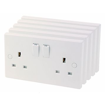 13A 2-Gang Switched Socket, Pack of 5