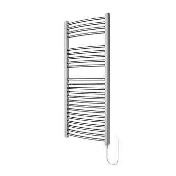 Flomasta Electric Silver Electrical Towel Warmer (H)1100 (W)500 mm