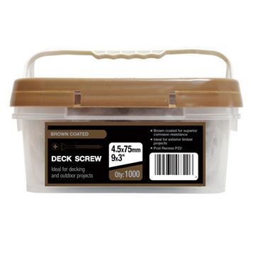 B&Q Brown Coated Carbon Steel Deck Screw (Dia)4.5mm (L)75mm, Pack of 1000