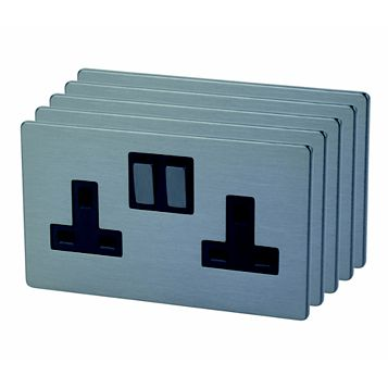 Lap 13A 2-Gang Slate Effect Brushed Slate Effect Switched Socket, Pack of 5