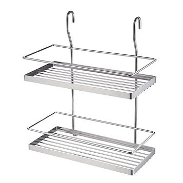 Hastings Silver Chrome Effect Two Tier Wire Shelf (L)300mm (D)180mm