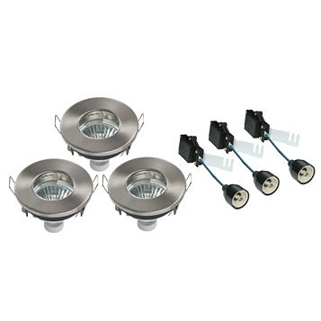 Diall Brushed Chrome Effect LED Fixed Downlight 4.8 W, Pack of 3