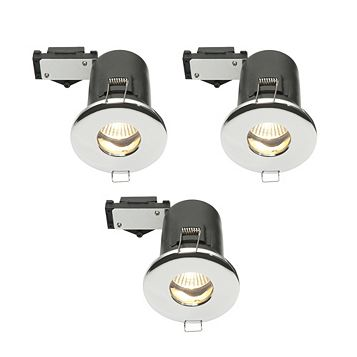 Diall Fire Rated Chrome Effect Downlight 3.5 W, Pack of 3