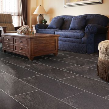 Dark Grey Natural Stone Effect Waterproof Luxury Vinyl Click Flooring Pack 1.85m²