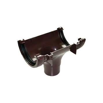 Floplast Half Round Gutter Running Outlet (Dia)112 mm, Brown
