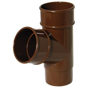 Floplast Round 67.5 ° Gutter Downpipe Branch (Dia)68 mm, Brown